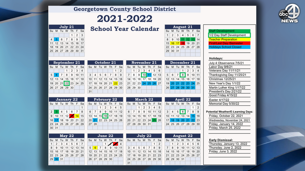 2021 2022 Georgetown County school calendar approved | WCIV