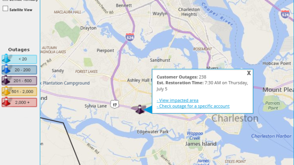 Sce&G Power Outage Map Hundreds left without power after crash in West Ashley | WCIV