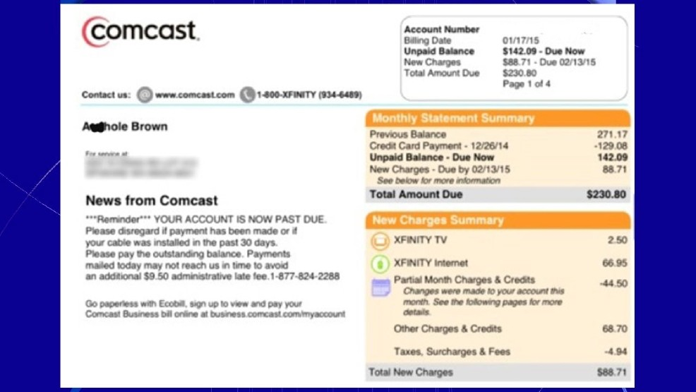 Comcast Changes Customer S Name To A Hole On Bill Wciv